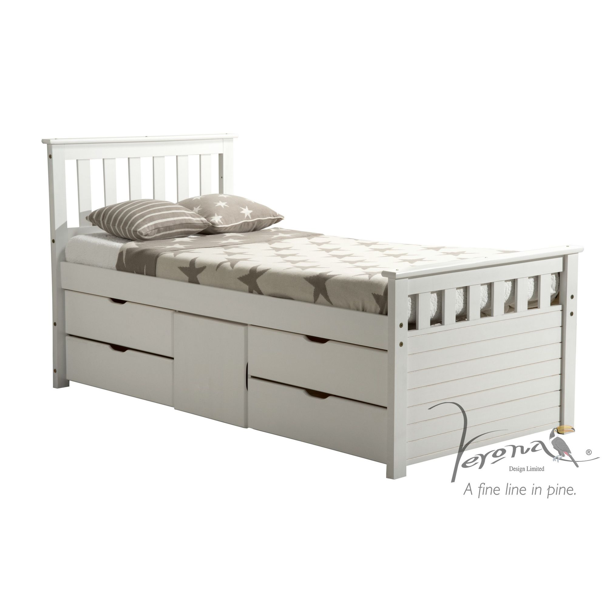 Verona Ferrara Captains Bed - One Side - Single - Whitewash at Tesco Direct