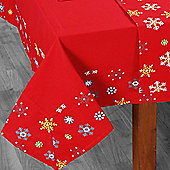Homescapes Cotton Christmas Red Snowflake Border Tablecloth, 54 x 90 Inches