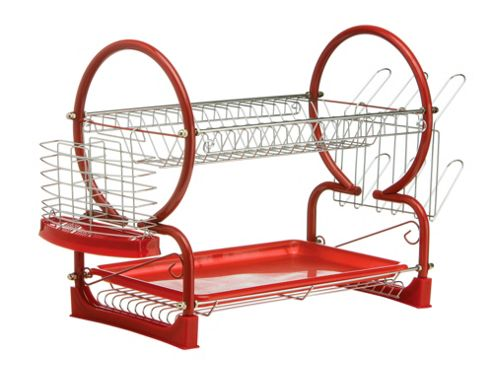 Premier Housewares 56 cm 2 Piece Tier Dish Drainer with Plastic Tray - Red