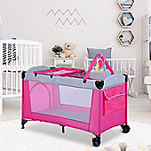 Homcom Portable Baby Play Pen Bed Bassinet Travel Cot Pink