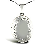 Jewelco London Sterling Silver Oval shape framed pattern Locket Pendant - 18 inch Chain