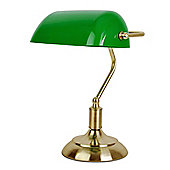 Bankers Table Lamp, Antique Brass & Green