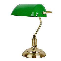 Bankers Table Lamp in Antique Brass & Green
