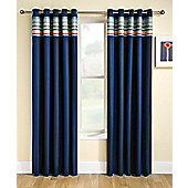 Siesta Blackout Ready Made Pencil Pleat Curtains-Fully Lined-Blue,Natural & Pink - Blue
