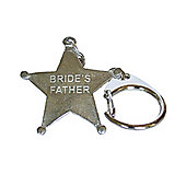 Pewter Wedding Bride's Father Star Keyring