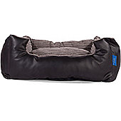 Silentnight Micro-Climate Snuggle Dog Bed - Faux Leather Black - Small