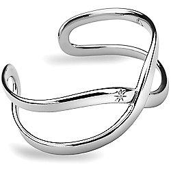 IT Diamonds Rhodium EMBRACE Diamond Crossover Style Bangle