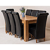 Kuba Chunky Solid Oak 180 cm Dining Table with 8 Black Montana Leather Chairs