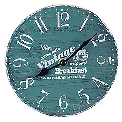 'Vintage Breakfast' 15cm Wooden Rustic Style Home Blue Wall Clock