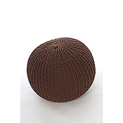Kaikoo Lightweight Knitted Pouffe, Chocolate Brown