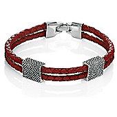 Mens Fred Bennett Textured Silver Red Leather Bracelet
