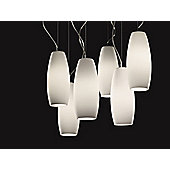 De Majo Peroni Six Light Pendant - Frosted Stained Sectors