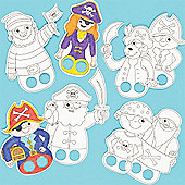 Pirate Card Colour-In Finger Puppets (Pack of 24)
