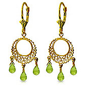 QP Jewellers 3.75ct Peridot Trilogy Chandelier Earrings in 14K Gold