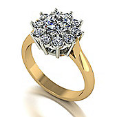 18ct Gold 6.5mm Centre Moissanite Cluster Ring