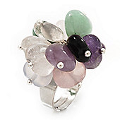 Multicoloured Semiprecious Stone Cluster Flex Ring - Adjustable