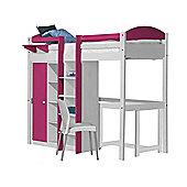 Maximus High Sleeper Set 2 Central Ladder White With Fuschia Details