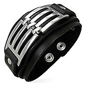 Urban Male Stylish Men's Black Leather & Stainless Steel Bracelet