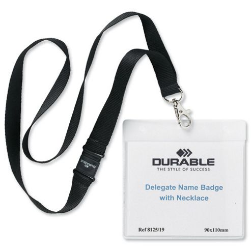 Durable Name Badges Delegate with Textile Necklace with Safety Closure Black Ref 8125-01 [Pack 10]
