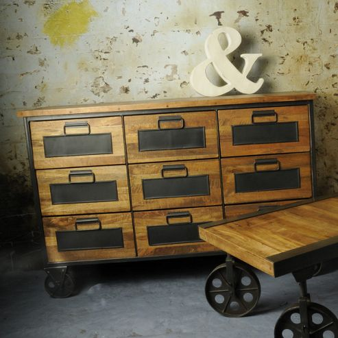 Oceans Apart Industrial Living Nine Drawers Apothecary Chest