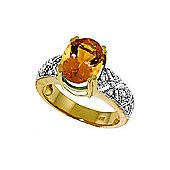QP Jewellers Diamond & Citrine Renaissance Ring in 14K Gold