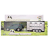 Kids Globe Land Rover Defender With Livestock Trailer