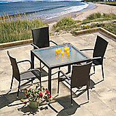 SunTime Lincoln 1m Grey Rattan Garden Dining Set