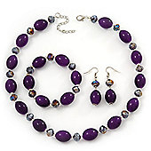 Purple/Violet Glass/Crystal Bead Necklace, Flex Bracelet & Drop Earrings Set In Silver Plating - 44cm Length/ 5cm Extension