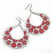 Large Teardrop Red Enamel Floral Hoop Earrings In Silver Finish - 8cm Length