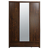 Tribeca Triple Wardrobe with Drawers, Walnut