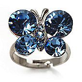Small Sky Blue Crystal Butterfly Ring (Black Tone)