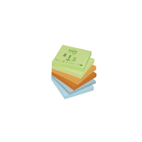 3M Post-it Note Recycled Pastel Pack of 12 76x76mm 654-1RP