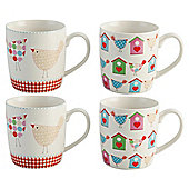 Tesco Tweet Set of 4 Fine China Mugs