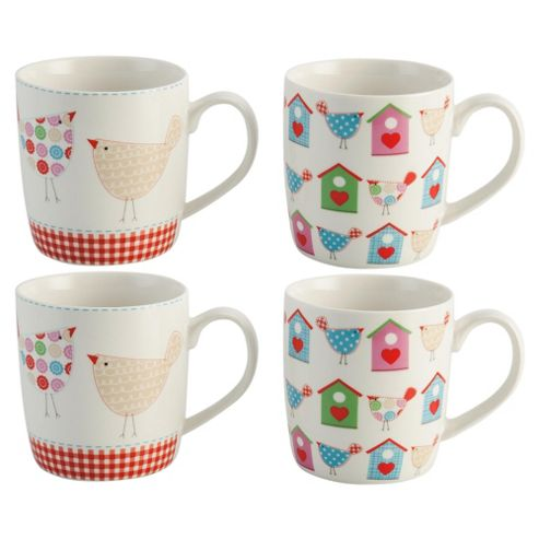Tesco Tweet Set of 4 Porcelain Mugs