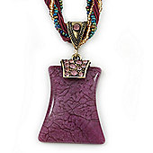 Vintage Bead Purple Square Glass Pendant Necklace In Antique Gold Metal - 38cm Length/ 5cm Extender