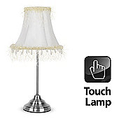 Carly Touch Table Lamp in Brushed Chrome