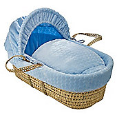 Clair de Lune Palm Moses Basket (Marshmallow Blue)