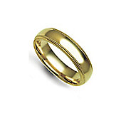 Jewelco London Bespoke Hand-Made 18 carat Yellow Gold 5mm Court Mill-Grain Wedding / Commitment Ring,