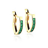 QP Jewellers 0.80ct Emerald Acute Huggie Earrings in 14K Gold