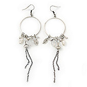 Long Antique Silver Tone Bead, Chain Charm Hoop Earrings - 12cm Length