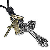Urban Male Modern Adjustable Dark Brown Leather Chain With Crucifix Pendant
