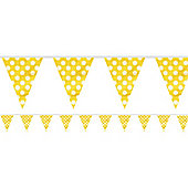 Yellow Polka Dot Bunting - Plastic 3.6m