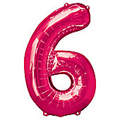"""Pink Number 6 Balloon - 34"""" Foil"""