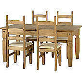 Corona Extending Dining Set (1+4) Distressed Waxed Pine/Cream PU