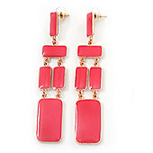 Long Pink Enamel Geometric Drop Earrings In Gold Plating - 90mm Length