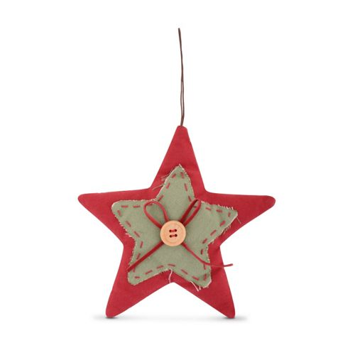 Small Handmade Festive Star Shaped Fabric Christmas Decoration