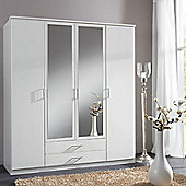 Amos Mann furniture Venice 4 Door 2 Drawer Wardrobe - White