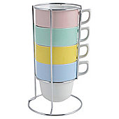 Tesco Pastel Stacking Mugs 4 pack