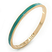 Thin Light Teal Enamel 'A STROKE OF LUCK' Slip-On Bangle Bracelet In Gold Plating - 18cm Length