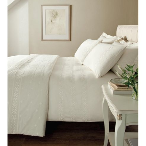 Catherine Lansfield Home Platinum Windsor OXFORD PILLOWCASES Cream